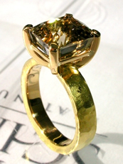 Gold ring with brown tourmaline