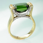 Tourmaline on the bridge palladium and gold cocktail ring