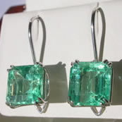 Hand made platinum emerald earrings