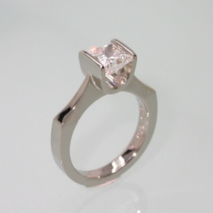 White gold bar set engagement ring