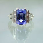 Art Deco style platinum diamond ring with ceylon sapphire