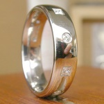 Diamond square and round set platinum wedding band