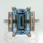 Strong blue aquamarine in a hand crafted platinum ring