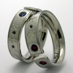 Ruby and Sapphire matched platinum bands