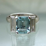 Aquamarine art deco style platinum engagement ring