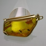 Amber pendant in gold with insects