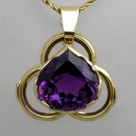 Gold gothic Trefoil pendant with rich purple amethyst