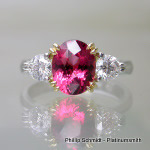 Pink spinel set in gold and platinum, diamond ring