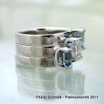 Bar set aquamarine platinum wedding bands