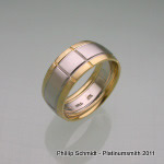 Gents palladium and yellow gold, sectioned wedding band