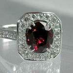 Red spinel with diamond Halo, in platinum