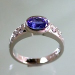 Palladium tanzanite diamond ring