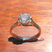 ndividually styled x prong platinum ring