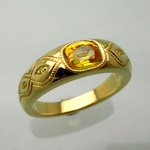 Gold signet ring with yellow sapphire and diamonds