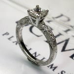 Engraved diamond ring